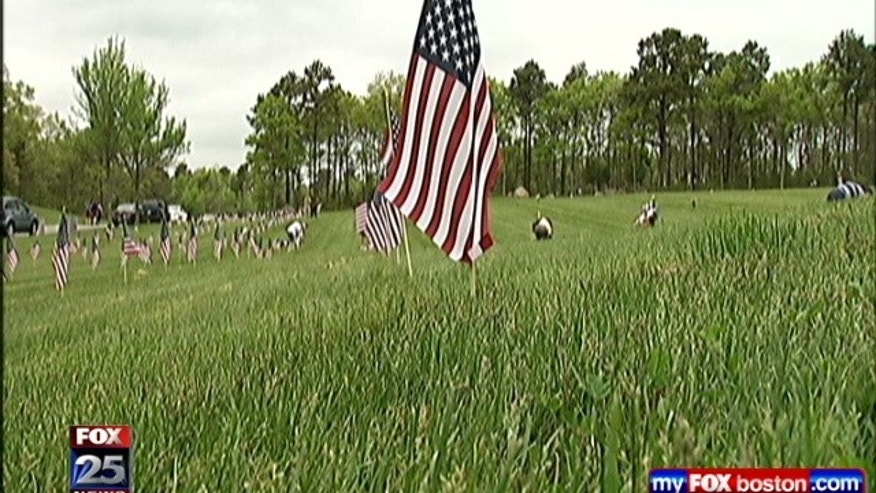 Hundreds of volunteers have traveled to Cape Cod to plant 50,000 flags at a military veteran's cemetery that until now has forbidden flags on the markers.