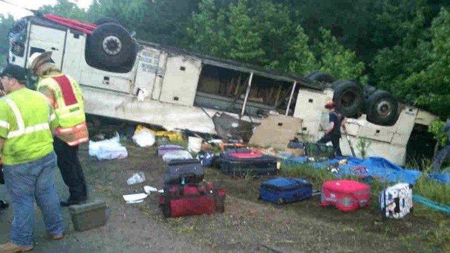 May 31: At least four people were killed and several injured when a bus overturned early Tuesday in central Virginia.