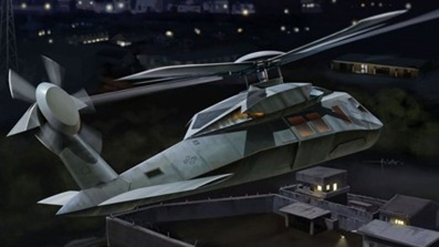 "A promotional image of the ""Operation Geronimo"" stealth helicopter model kit from Dragon Models Limited."
