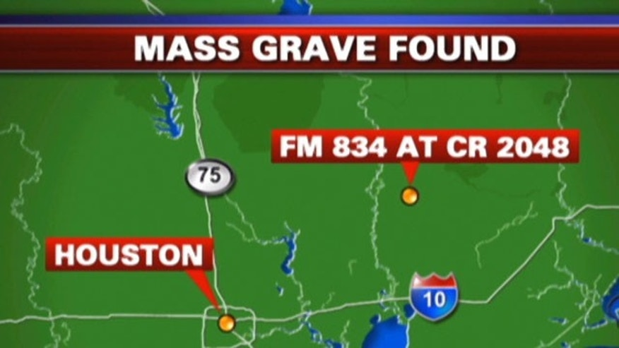 Authorities said Tuesday that a mass grave was found in Texas.