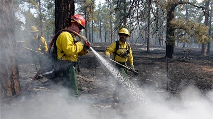 "June 11: Firefighter Jimmy Niesen, of Surprise, Ariz., sprays water on a hot spot during the Wallow Fire in Greer. Smoke from the huge wildfire in eastern Arizona that has claimed more than 30 homes and forced nearly 10,000 people to flee has officials worried about serious health impacts to residents and firefighters as tiny particles of soot in the air reached ""astronomical"" levels. (AP)"