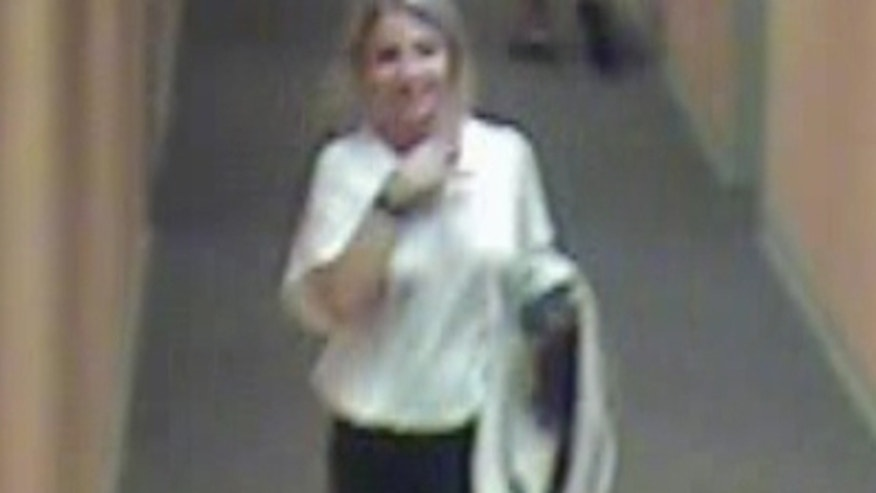A surveillance video photo of Indiana student Lauren Spierer leaving her Smallwood apartment complex before her disappearance. (Bloomington Police Department)