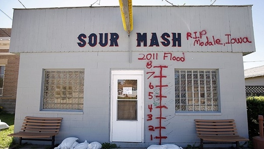 June 15: The Sour Mash Bar and Grill is seen on a dry main street in Modale, Iowa. Many of Modale's 300 residents cleared out of their homes when prompted by warnings that parts of Modale could receive 2 to 4 feet of water.