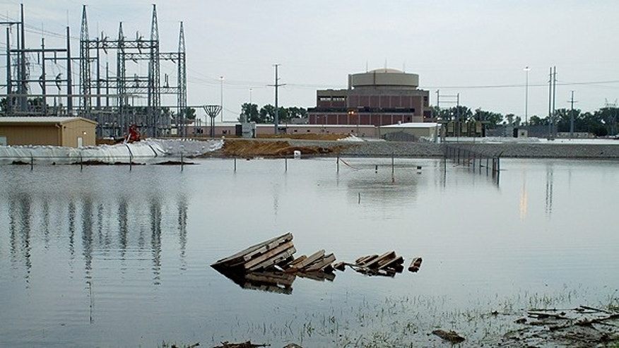 June 17: Floodwaters from the Missouri River surround the Fort Calhoun Nuclear Station.
