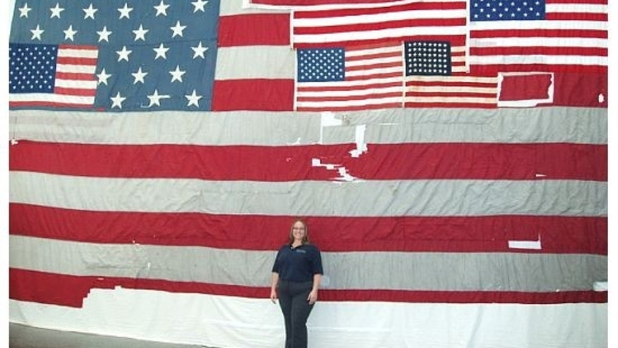 The National 9/11 Flag shortly after it was patched together with flags from Greensburg, KS.