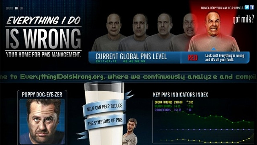 "This screengrab shows the website ""Everything I Do Is Wrong,"" part of a provocative ad campaign intented to promote milk as a cure for PMS."