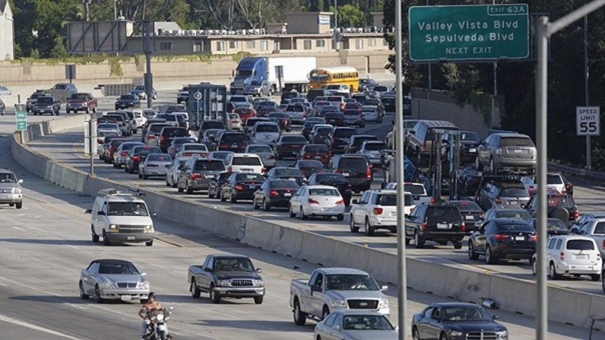 July 13: Traffic on Interstate 405 is seen from the Sherman Oaks Galleria mall parking lot in Los Angeles.
