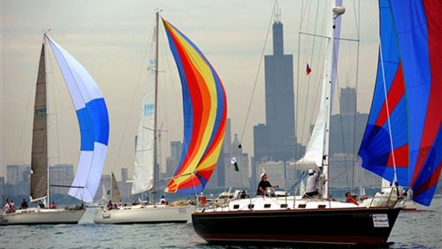 Boats take off for the 103rd Race to Mackinac on Lake Michigan.