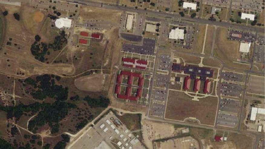 An aerial view of Fort Hood, the Texas base where former Army psychiatrist Major Nidal Hasan allegedly went on a deadly shooting rampage in November 2009.
