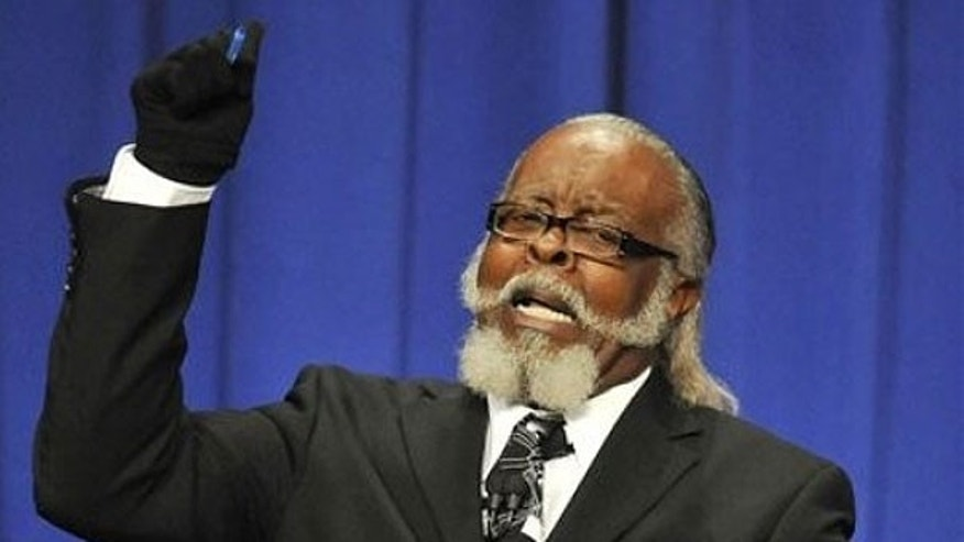 Oct. 18, 2010: Jimmy McMillan, candidate for Rent Is Too Damn High Party makes a point during the 2010 New York State Gubernatorial debate held at Hoftstra University.
