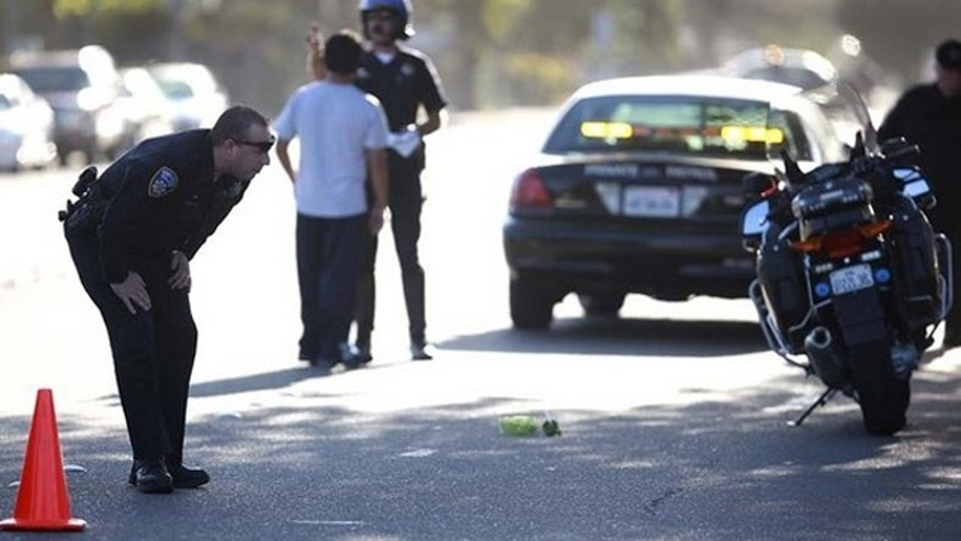 "Aug. 18: Santa Rosa police officers investigate the accident scene where Christopher ""Buddy"" Rowe was struck and killed by a car."
