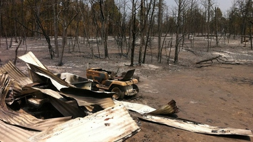 Sept. 7: A field in Bastrop, Texas seen after being hit by the wildfire.