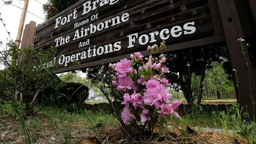 This photo shows an entrance sign to Fort Bragg, N.C., Tuesday, April 24, 2007. The nine U.S. soldiers killed when a truck bomb exploded next to their patrol base in Iraq were all paratroopers from the 82nd Airborne Division, based at Fort Bragg, the division said Tuesday. Twenty of their colleagues were wounded in the attack.   (AP Photo/Gerry Broome)