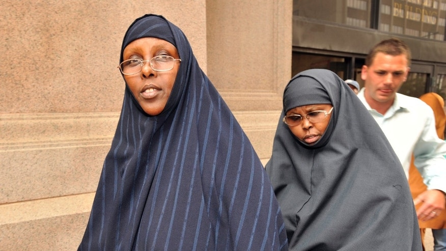 August 5, 2010: Hawo Mohamed Hassan, left, and Amina Farah Ali, both of Rochester, Minnesota, leave the U.S. District Court after appearing at a hearing in St Paul.