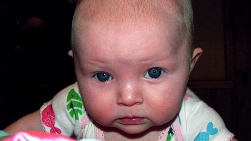 Seen is Lisa Irwin, a 10-month-old girl who was apparently was abducted from her bedroom overnight.