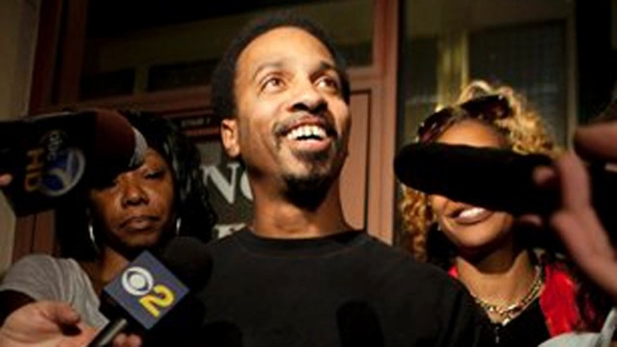 Oct. 4: Obie Anthony, whose murder conviction was overturned after 17 years behind bars, talks to reporters after he was released from prison in Los Angeles.