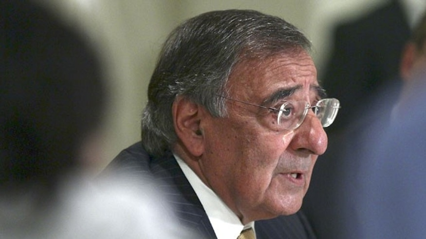 FILE: In this October 4, 2011, photo, Defense Secretary Leon Panetta answers questions during a news conference in Cairo, Egypt.