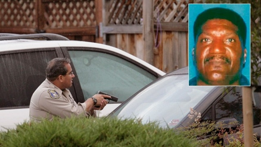 Oct. 6: A Sheriff's deputy backs up a team entering a home in Sunnyvale, Calif., where a man matching the description of suspected gunman Shareef Allman, inset, was found and shot.