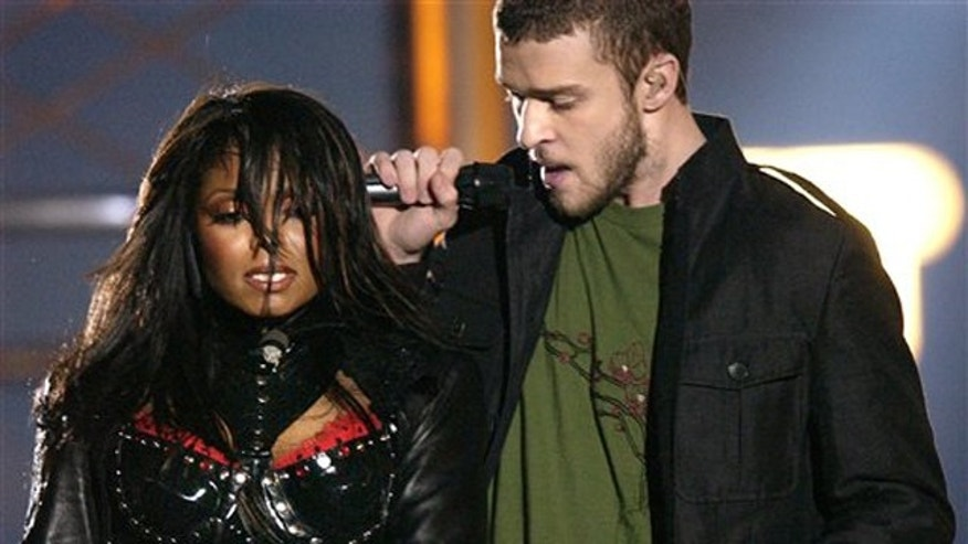 In this Feb. 1, 2004 file photo, singers Justin Timberlake and Janet Jackson are seen during their performance prior to a wardrobe malfunction during the half time performance at Super Bowl XXXVIII in Houston.