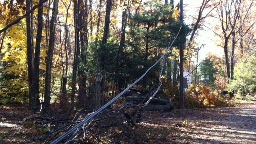 Nov. 9, 2011: Power lines are stil down in Avon, CT., after an October 29th snow storm.