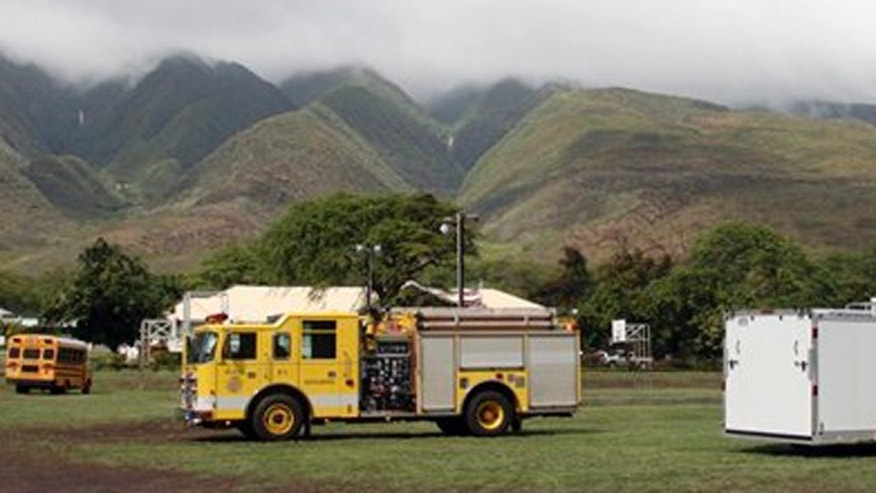 November 10, 2011: Emergency vehicles are positioned near Kilohana Elementary School on Molokai, in Hawaii.