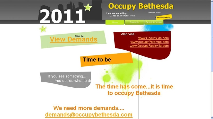 At first glance, the front page for occupybethesda.com may look like a call for the residents of the tony D.C. suburb to join the 99%, but it is actually a site for real estate listings.