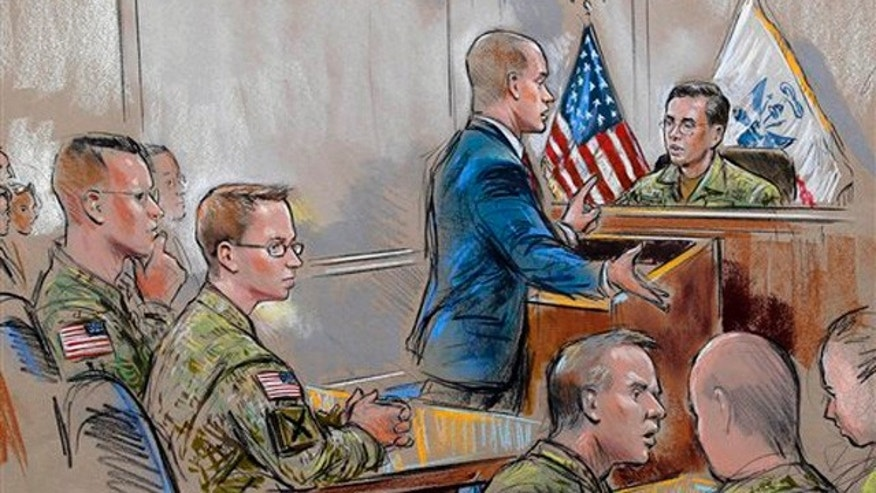 Dec. 16, 2011: In this courtroom sketch, Army Pfc. Bradley Manning, second from left, sits as his attorney, David E. Coombs, speaks during a military hearing in Fort Meade, Md.