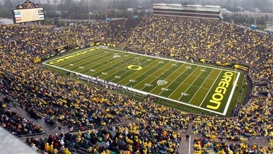 Sept. 18, 2010: This file photo shows spectators in the University of Oregon's Autzen Stadium during the second half of an NCAA college football game between Oregon and Portland State in Eugene, Ore.