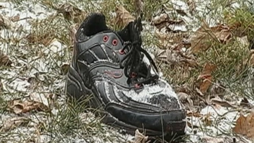 These sneakers are believed to have belonged to a jogger who was mauled by pit bulls early Monday morning.
