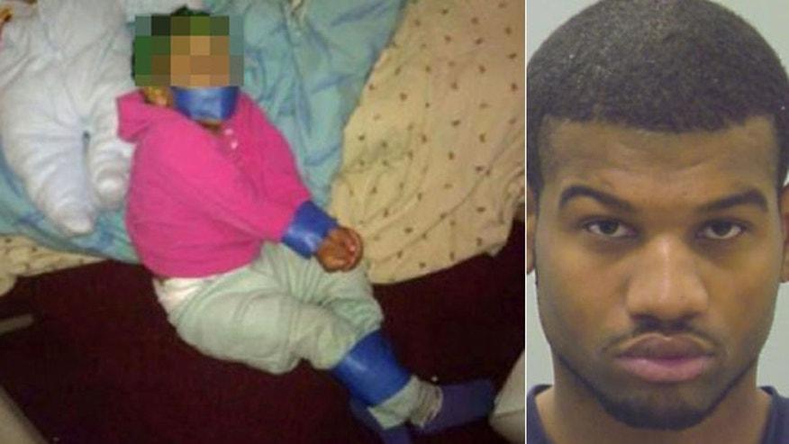 Andre Curry, 21, was found guilty of using painter's tape to bind his 1-year-old daughter and post a photo Facebook.