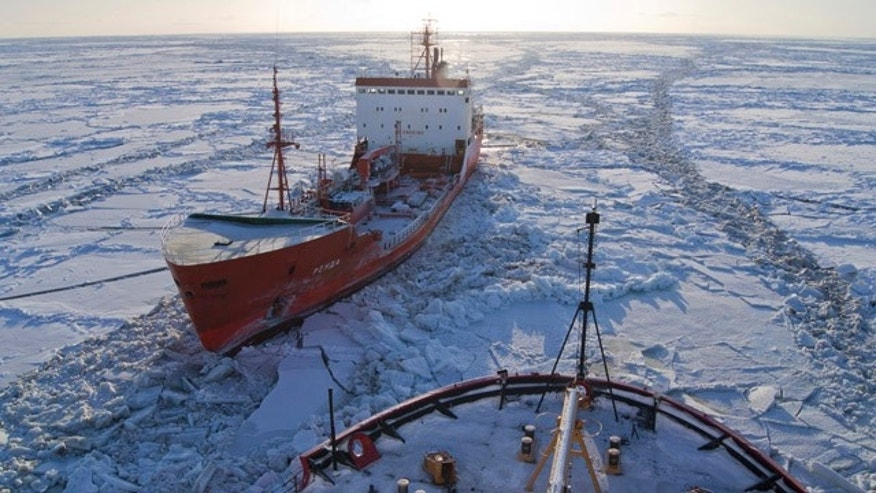 Jan. 6: Russian-flagged tanker Renda, carrying more than 1.3 million gallons of fuel, sits in the ice while the Coast Guard Cutter Healy crew breaks the ice around the tanker approximately 19 miles northwest of Nunivak Island.