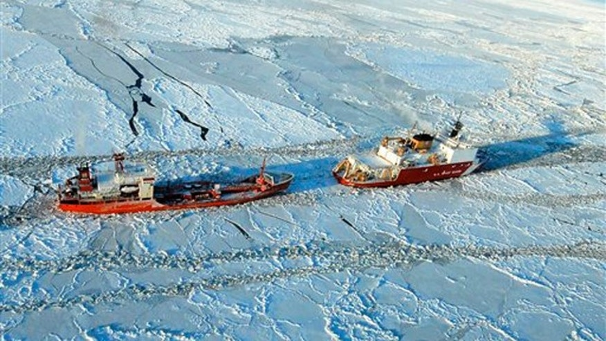 Jan 6, 2012: The Coast Guard Cutter Healy breaks ice around the Russian-flagged tanker Renda 250 miles south of Nome. The Healy is the Coast Guard's only currently operating polar icebreaker.