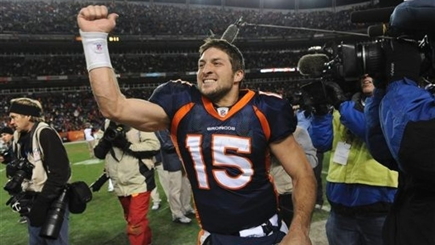 Jan. 8: Denver Broncos quarterback Tim Tebow (15) celebrates after beating the Pittsburgh Steelers 29-23 in overtime of an NFL wild card playoff football game in Denver.