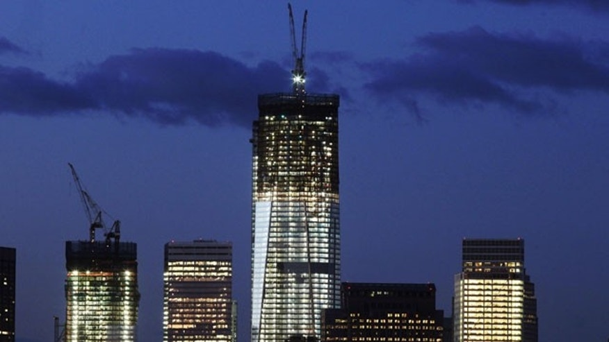 January 18, 2012: One World Trade Center, now up to the 90th floor, rises above the lower Manhattan skyline in New York.