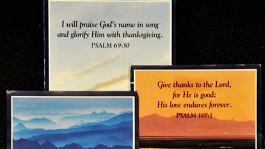 In this handout provided by Alaska Airlines, prayer cards of the type given to passengers on their meal trays are seen. After 30 years of giving passengers spiritual words to reflect on while they eat their meals, Alaska Airlines is retiring the prayer cards on Feb 1, 2012.