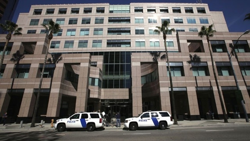 Feb. 17, 2012: Homeland Security police cars are shown parked outside the Long Beach, Calif., Federal Courthouse in Long Beach, Calif.
