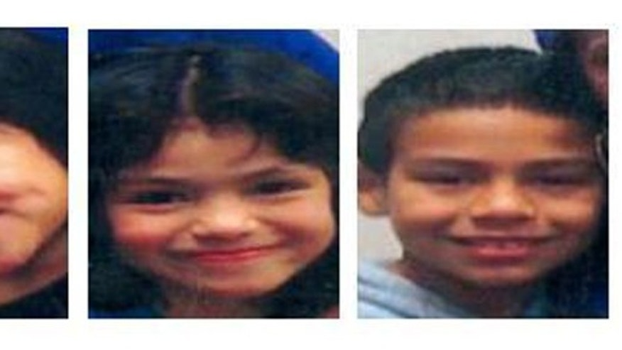 These images, released by the National Center for Missing & Exploited Children, show 5-year-old Esmerelda Guerrero-Lopez, left, 7-year-old Mirella Guerrero-Lopez, center, and 9-year-old Ubaldo Guerrero-Lopez Jr., right.