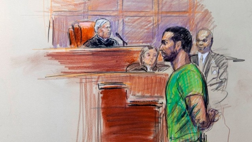 Feb. 17: This artist rendering shows Amine El Khalifi before U.S. District Judge T. Rawles Jones Jr. in federal court in Alexandria, Va.