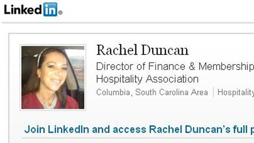 Rachel Duncan, pictured here on her LinkedIn profile, is reportedly a person of interest in a missing money investigation at the South Carolina Hospitality Association, which Tom Sponseller heads.
