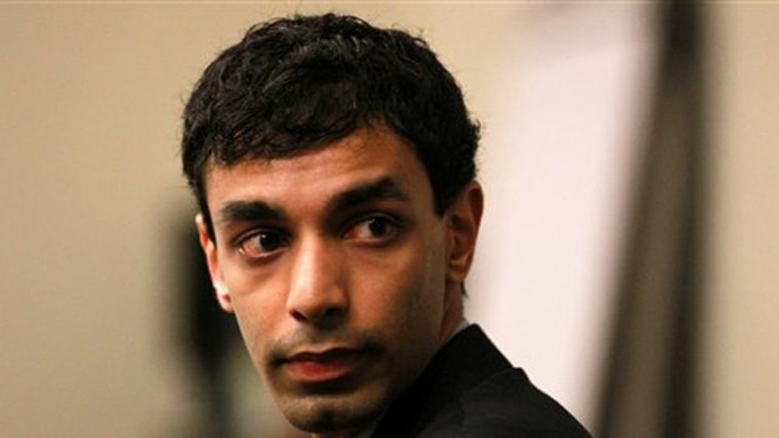 Feb. 24, 2012: Former Rutgers University student, Dharun Ravi, waits in the courtroom of Superior Court Judge Glenn Berman for his trial in New Brunswick, N.J.