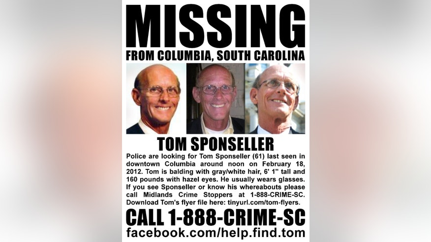 Sponseller, pictured here in a flyer distributed on a Facebook page set up for his search, was last seen at his office in downtown Columbia on Saturday.