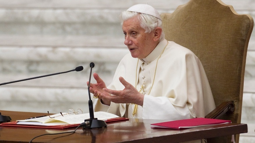 Feb. 23: Pope Benedict XVI delivers his speech during special audience he held for members of the Roman Curia, in the Pope Paul VI hall at the Vatican.