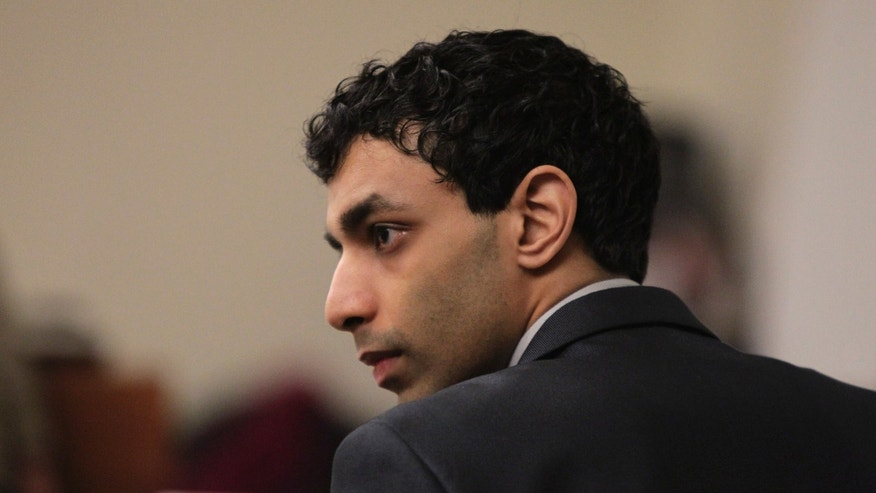 February 29: Dharun Ravi listens to testimony during his trial at the Middlesex County Courthouse, in New Brunswick, N.J.  Ravi is accused of using a webcam to spy on his roommate, Tyler Clementi, intimate encounter with another man.  Days later, Clementi committed suicide.