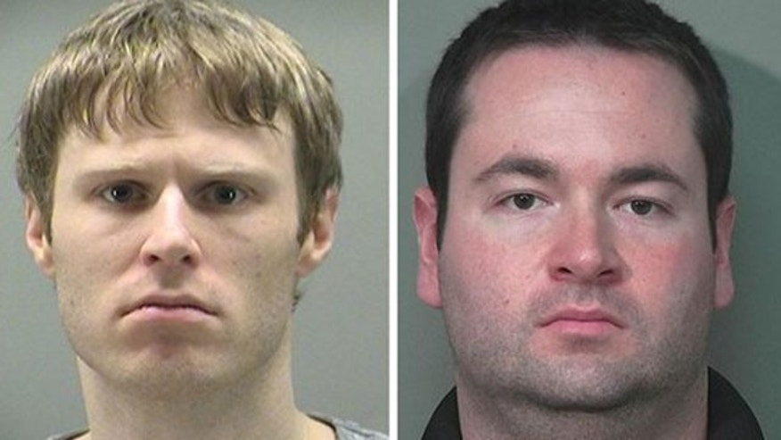 This combination made with police photos shows Patrick Rieder, 31, of Dayton, Ohio, left, and Jason Zwick, 29, of Beavercreek, Ohio.