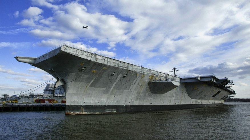 March 2, 2005: The aircraft carrier USS America is shown in Philadelphia. In 2005, the USS America aircraft carrier was towed out to sea on her final voyage. Hundreds of miles off the Atlantic coast, U.S. Navy personnel then blasted the 40-year-old warship with missiles and bombs until it sank.