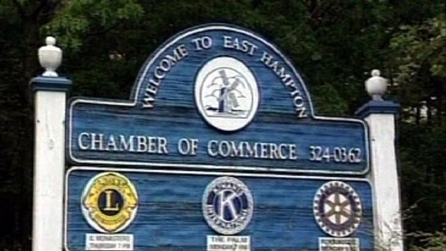 Welcome to East Hampton sign, Long Island, New York.