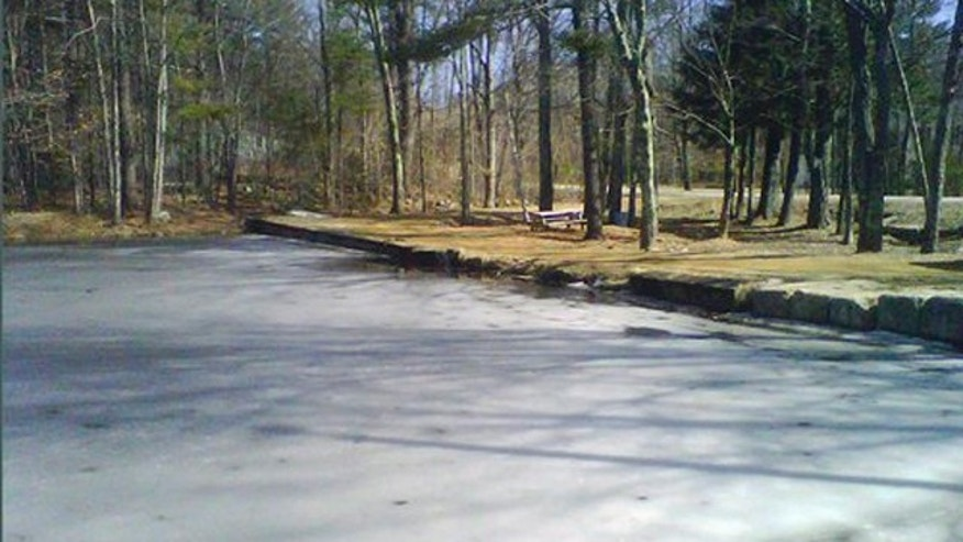 March 12, 2012: Ice partially covers the surface of Jew Pond in Mont Vernon, N.H.