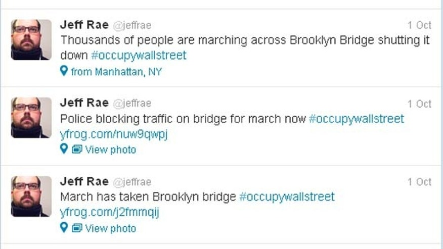A sampling of tweets from Jeff Rae during the October 1st march on the Brooklyn Bridge