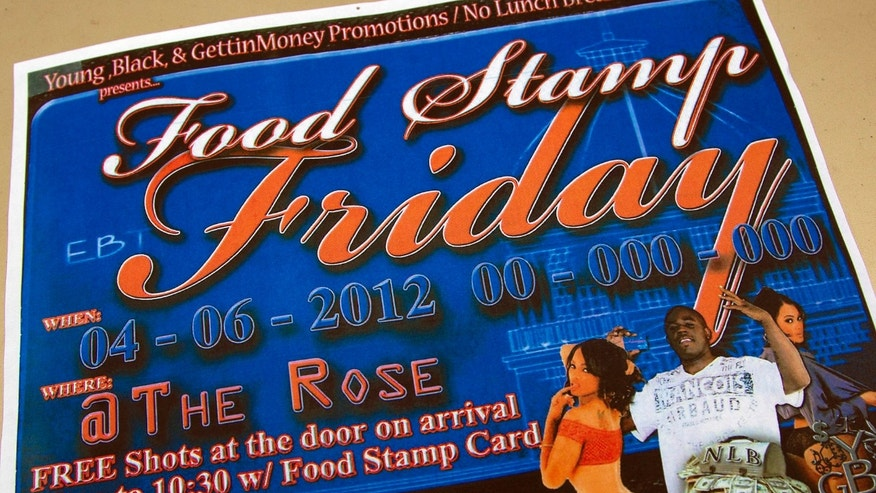 "March 30: A photo shows a brochure promoting the Food Stamp Friday event at the Rose Supper Club in Montgomery, Ala. The club will start ""Food Stamp Friday"" theme nights in April."