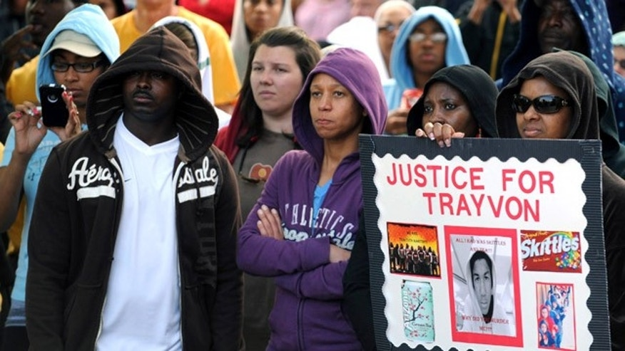 March 29: Supporters wear hoodies during a 'My Child is Your Child' rally calling for justice in the death of Florida teenager Trayvon Martin in downtown Hattiesburg, Miss.